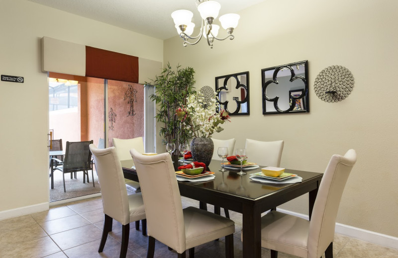 Rental dining room at Orlando Luxury Escapes Vacation Rentals.