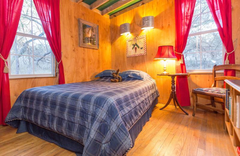 Cabin bedroom at Creekside Camp & Cabins.
