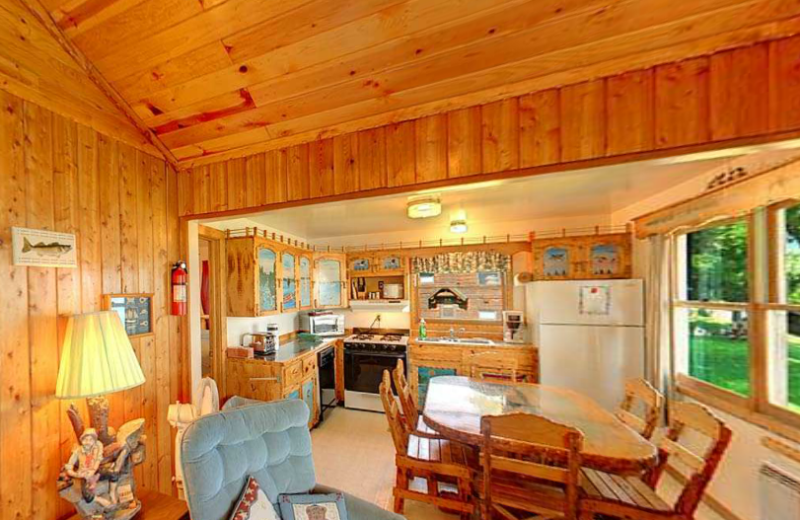 Cabin kitchen and dining at Anderson's Northland Lodge.