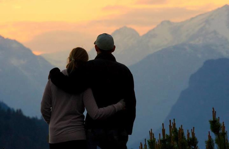 Couple enjoying the view at Sun Mountain Lodge.