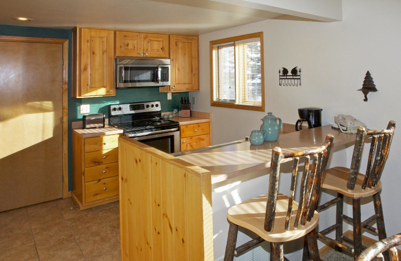 Guest kitchen at Rams Horn Village Resort.