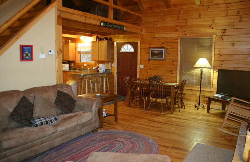 Cottage interior at American Heartland Cottages.