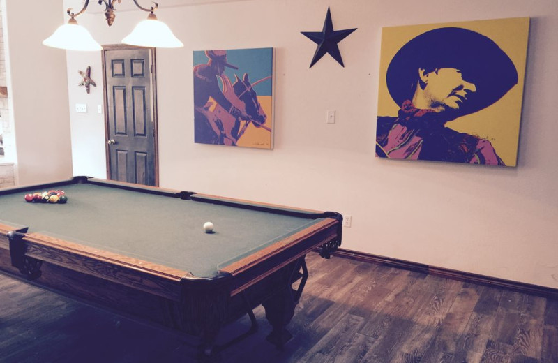 Rental billiard table at Hill Country Lake House.