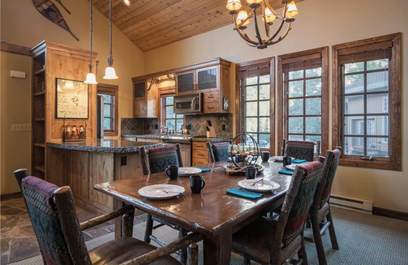 Rental kitchen and dining area at Canyon Services Vacation Rentals.