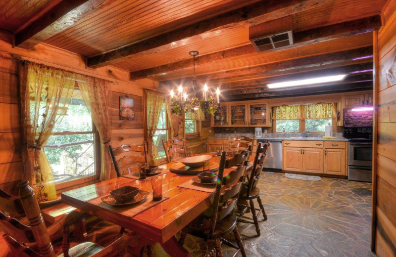 Rental kitchen at Smoky Mountain Cabins.