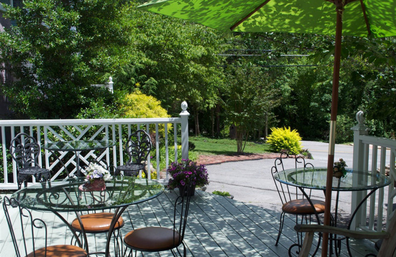 Outdoor dining patio at The Garden Walk Bed & Breakfast Inn.