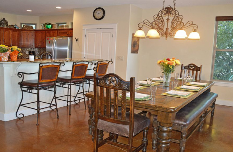 Kitchen and dining at Elk Lodge Vacation Home.