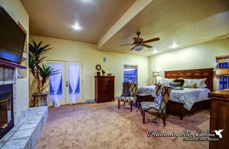 Rental bedroom at Hummingbird Cabins.