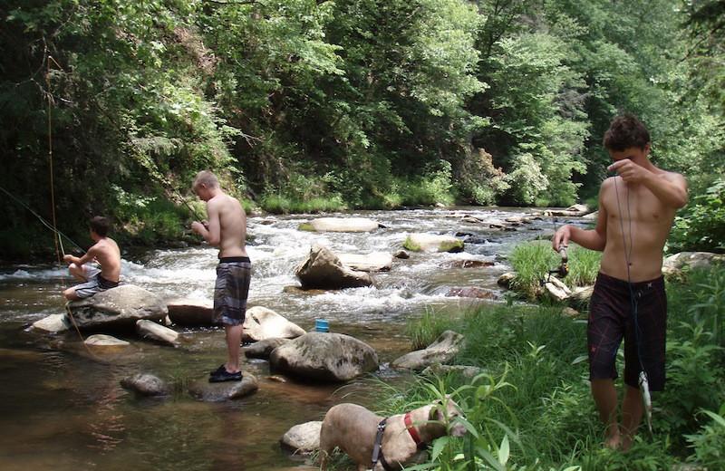Fishing at Nantahala River Lodge.