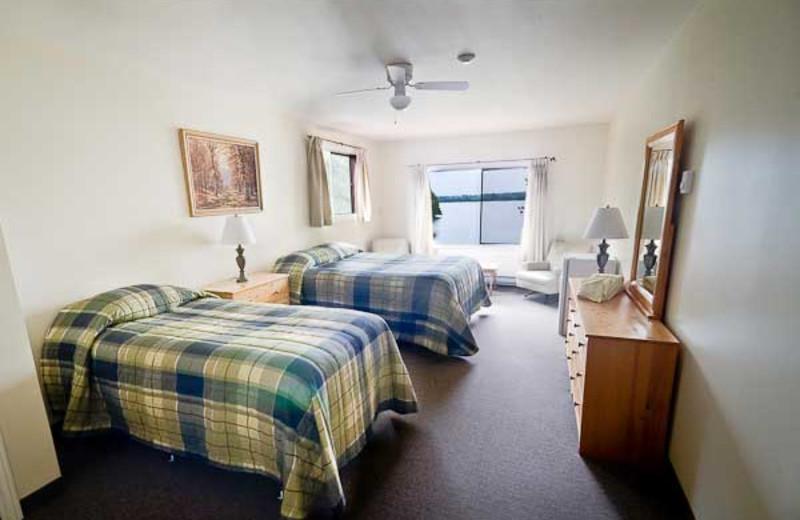 Cabin bedroom at Lumina Resort.