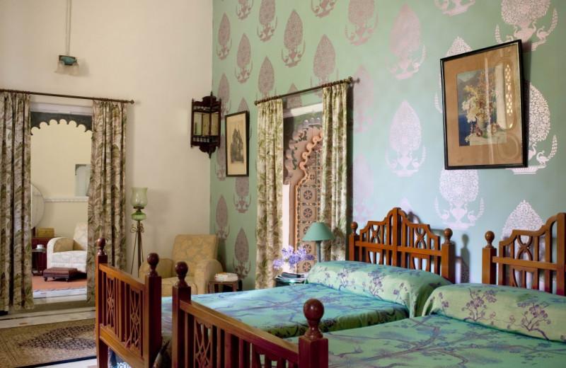 Guest room at Udai Bilas Palace.