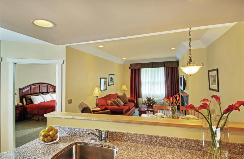 Guest suite at The Point Hotel at Castle Hill Resort & Spa.