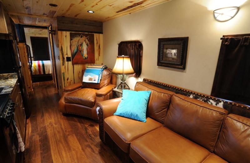 Cabin living room at Izaak Walton Inn.