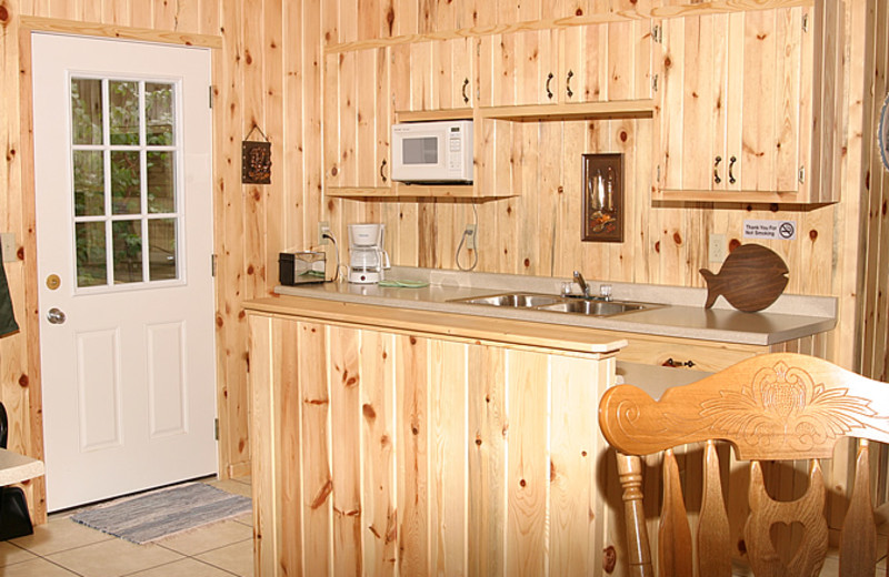 Cabin kitchen at Little Norway Resort.