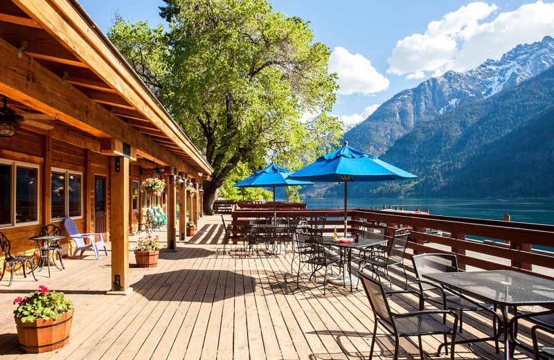 Exterior view of North Cascades Lodge at Stehekin.