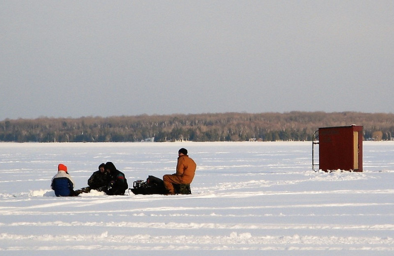 Ice fishing near Northwoods Lodge.