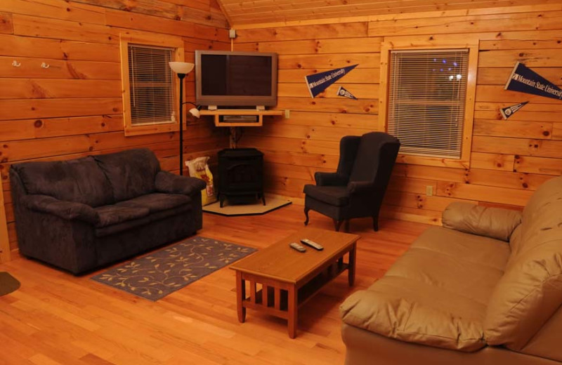 Cabin interior at The Cabins at Pine Haven