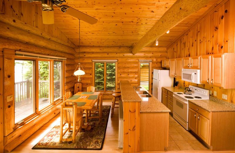 Cabin kitchen at Lutsen Resort on Lake Superior.