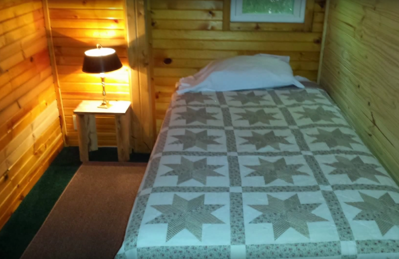 Cabin bedroom at Evans Lake Resort.