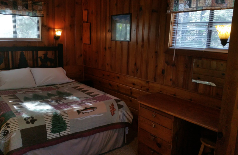 Cabin bedroom at Hidden Rest Resort.