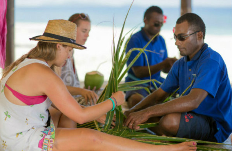 Basket weaving at Navini Island Resort.