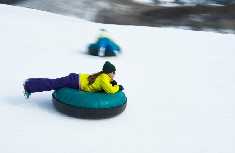 Snow tubing at Vista Verde Ranch.