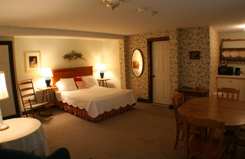 Guest room at The Wildflower Inn.