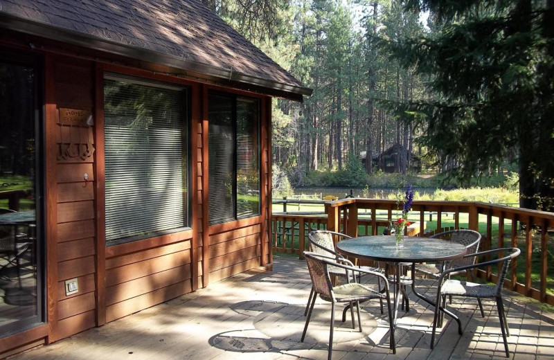 Cabin patio at Cold Springs Resort.