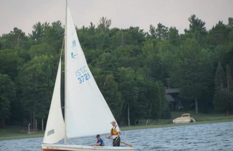 Sailing on the lake at Wind Drift Resort.