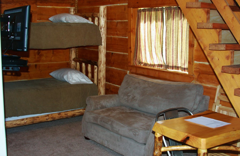 Cabin interior at Sleepy Bear Cabins.
