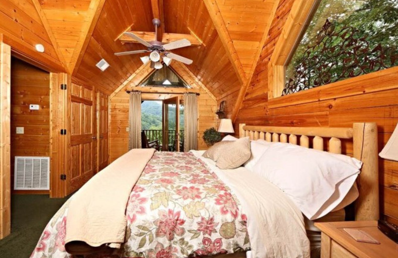 Cabin bedroom at Little Valley Mountain Resort.