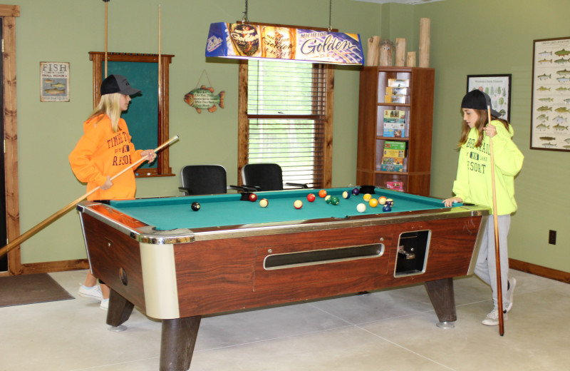 Billiard table at Timber Trails Resort.