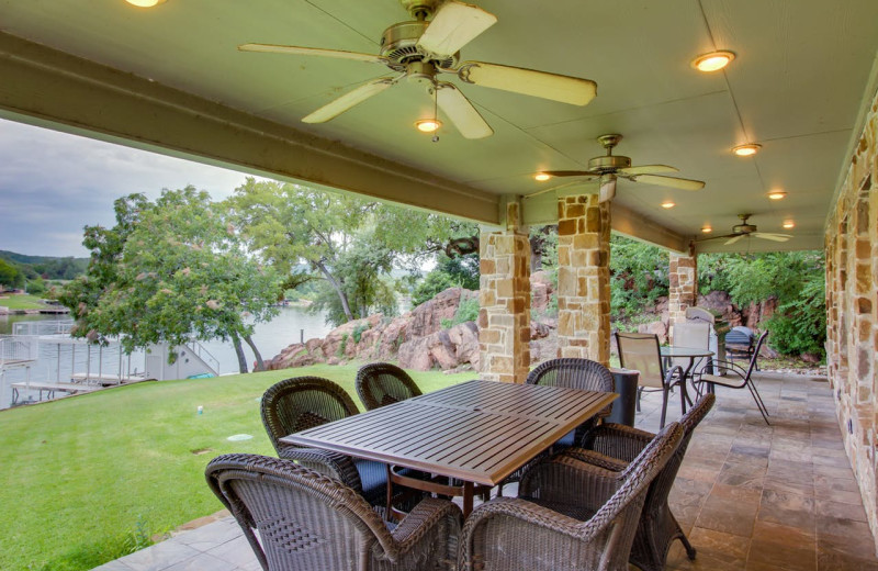 Rental patio at Still Waters Vacation Home.