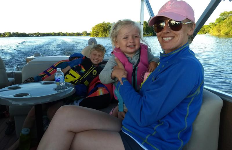 Boating at Riverside Resort.