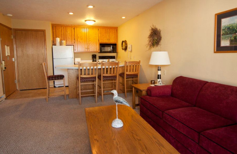 Guest kitchen and living room at Westwood Shores Waterfront Resort.