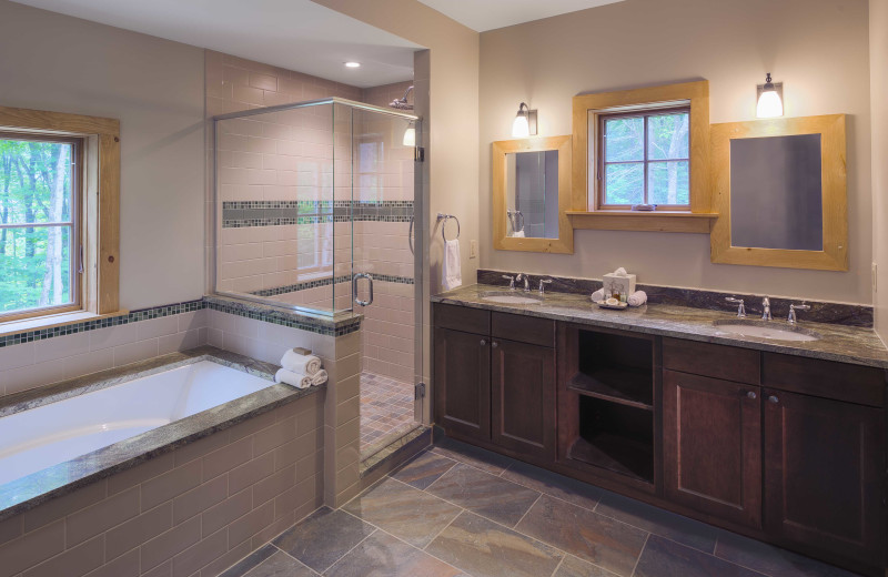 This is the master bathroom in one of our 4slopeside cottages at The Mountain Top Inn & Resort.
