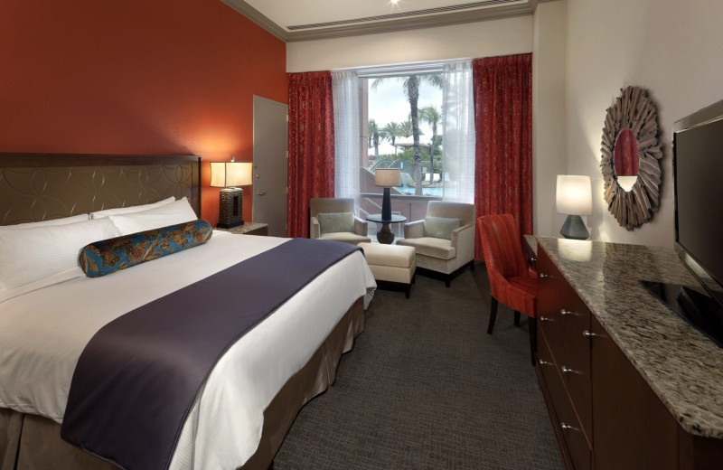 Guest room at Moody Gardens Hotel.