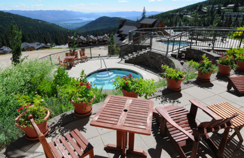 Patio view at Schweitzer Mountain Resort and Selkirk Lodge.