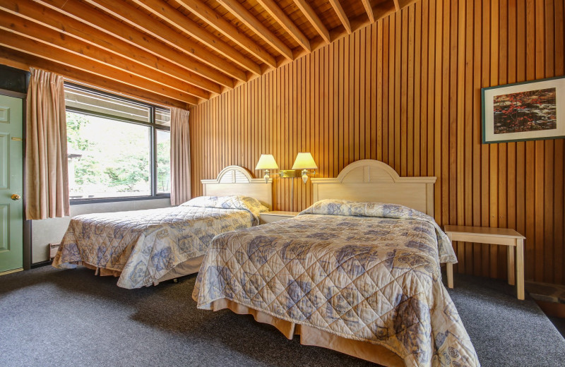 Guest bedroom at Delawana Resort.