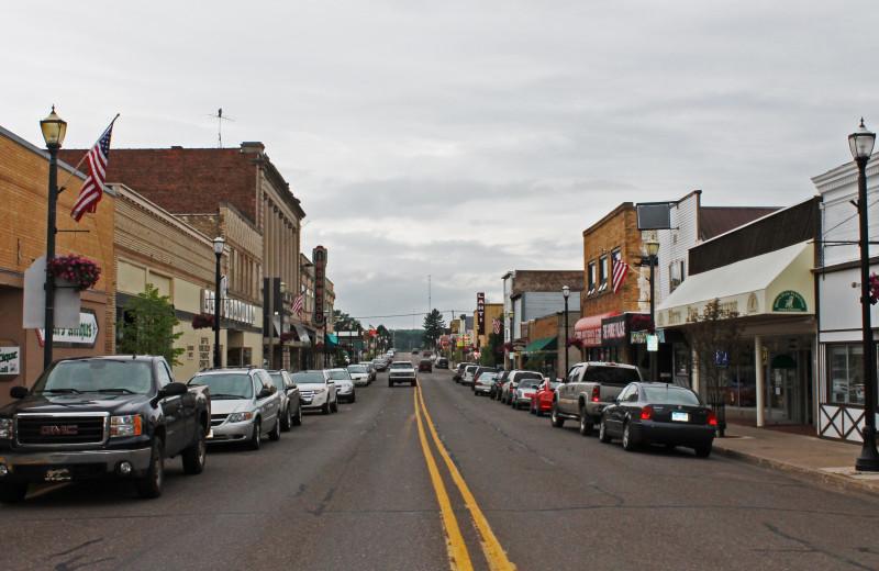 Downtown Ironwood, a town near Big Powderhorn Lodging Association.