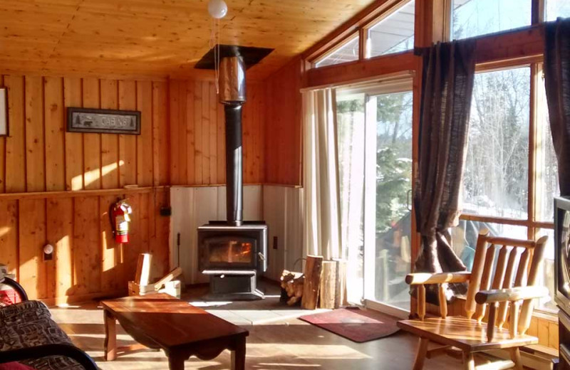 Cabin living room at Dunlop Lake Lodge.