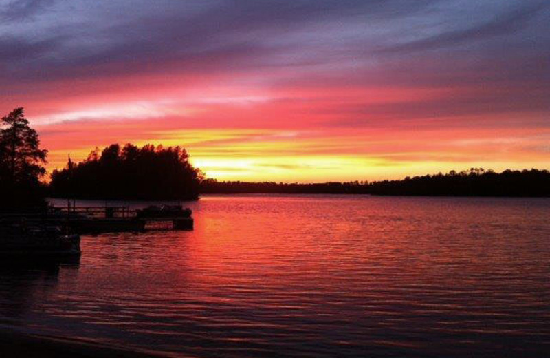 Romantic sunset at Timber Wolf Lodge Cabins.
