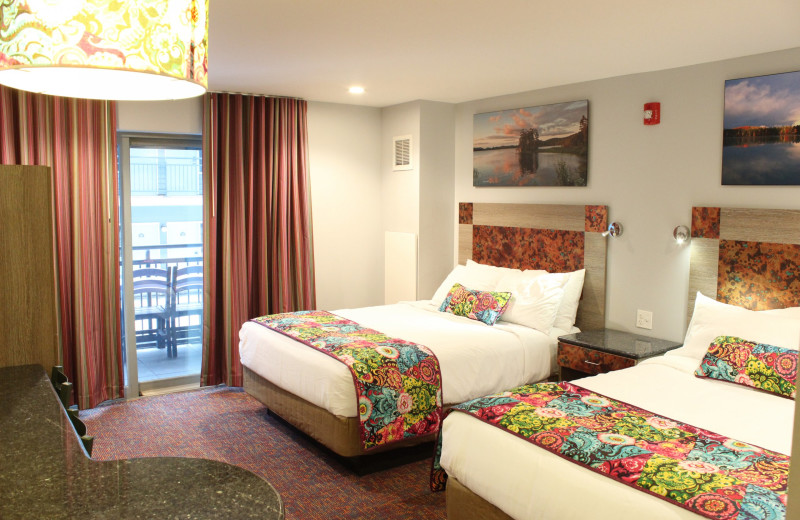 Guest room at Surfside on the Lake Hotel & Suites.