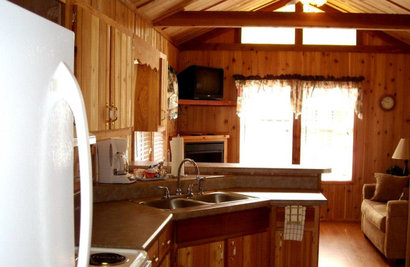 Cabin kitchen at Copper John's Resort.