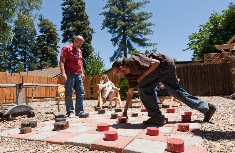 Checkers at Arrowhead Pine Rose Cabins.