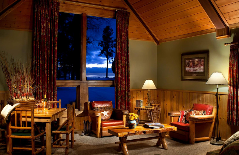Cabin living room at Averill's Flathead Lake Lodge.