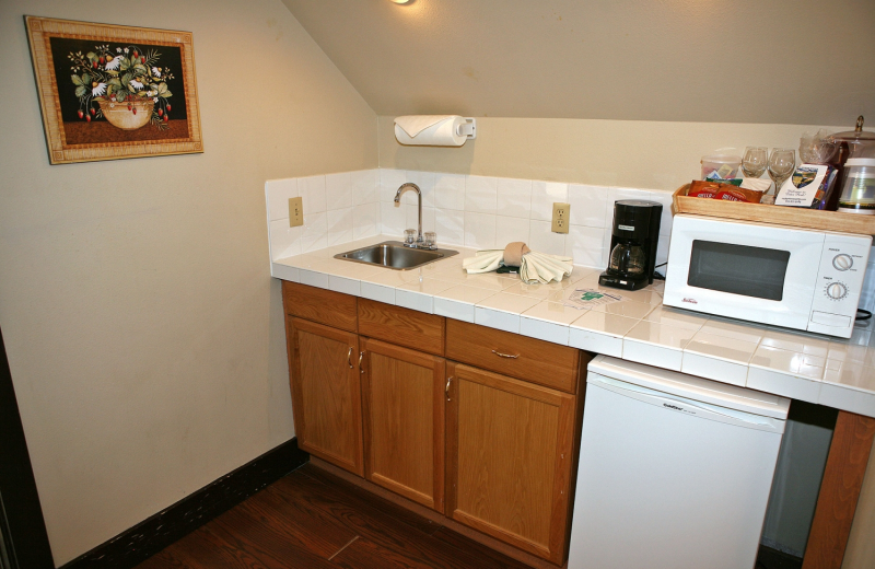 Guest kitchenette at Marys Lake Lodge.