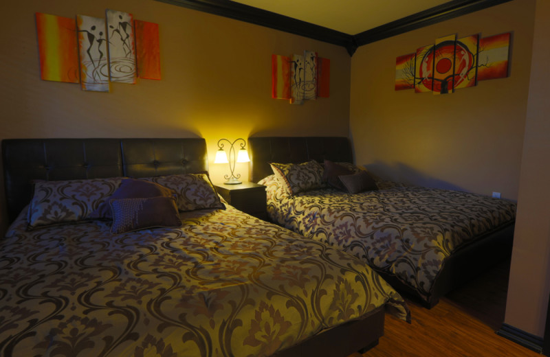 6 rooms with 2 queen beds are available. Each has a 3pc bath, fridge, micro, coffee maker.
