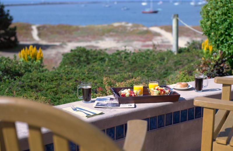 Breakfast on the balcony at Beach House Half Moon Bay.