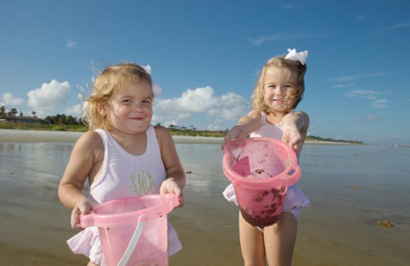 Kids playing on beach at Hampton Inn & Suites Jekyll Island.